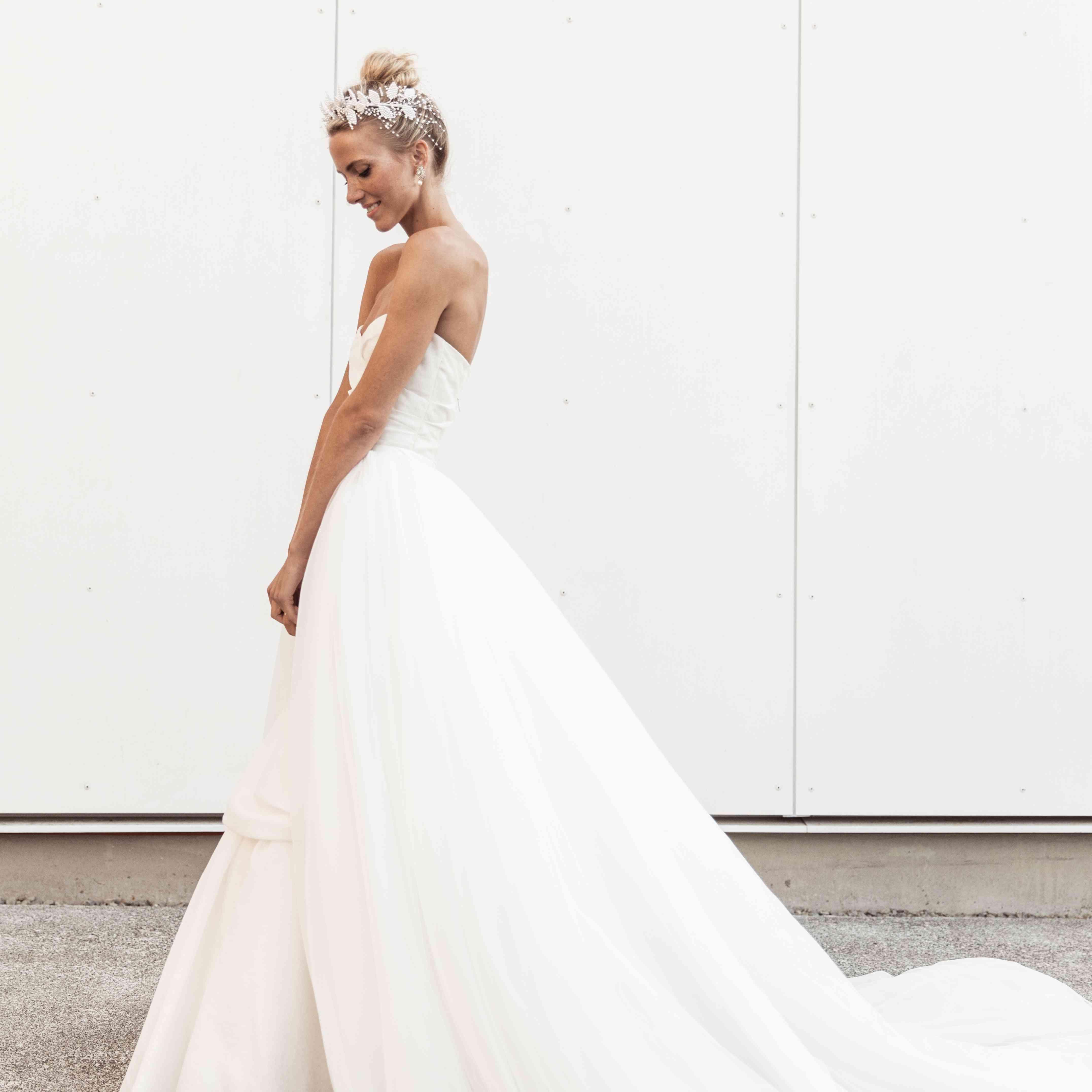 bride strapless wedding dress train