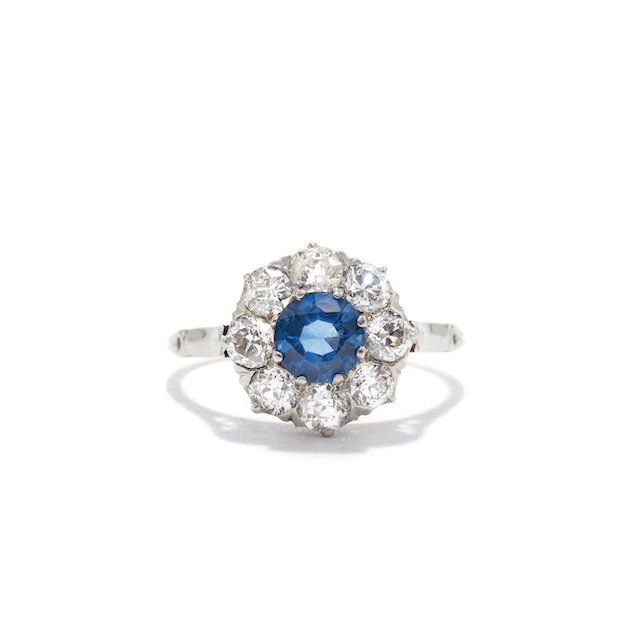 Ashley Zhang Platinum Edwardian Sapphire and Old Mine Cut Diamond Cluster Ring