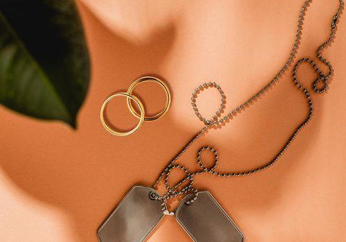 military wedding dog tags rings