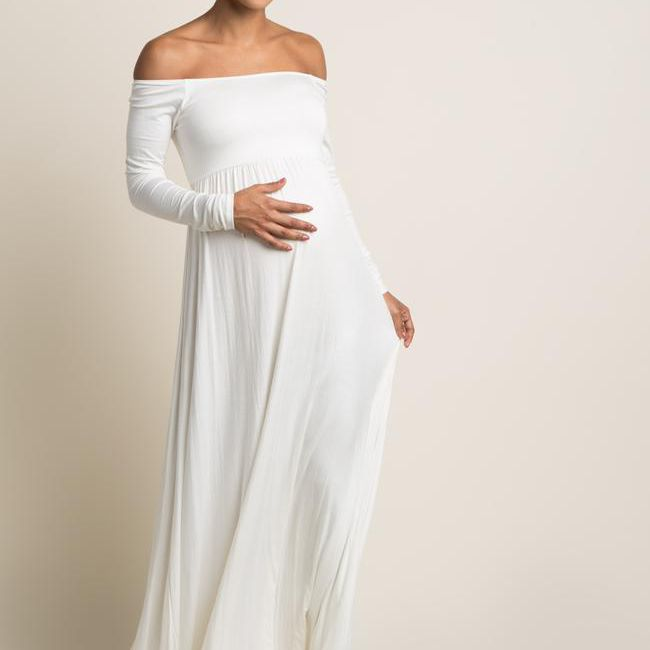 off-the-shoulder maternity dress