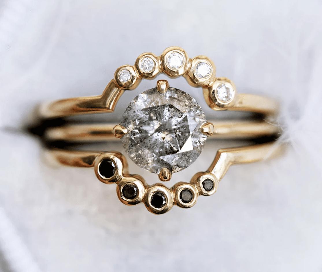 Capucinne Danielle Salt and Pepper Diamond Ring Set