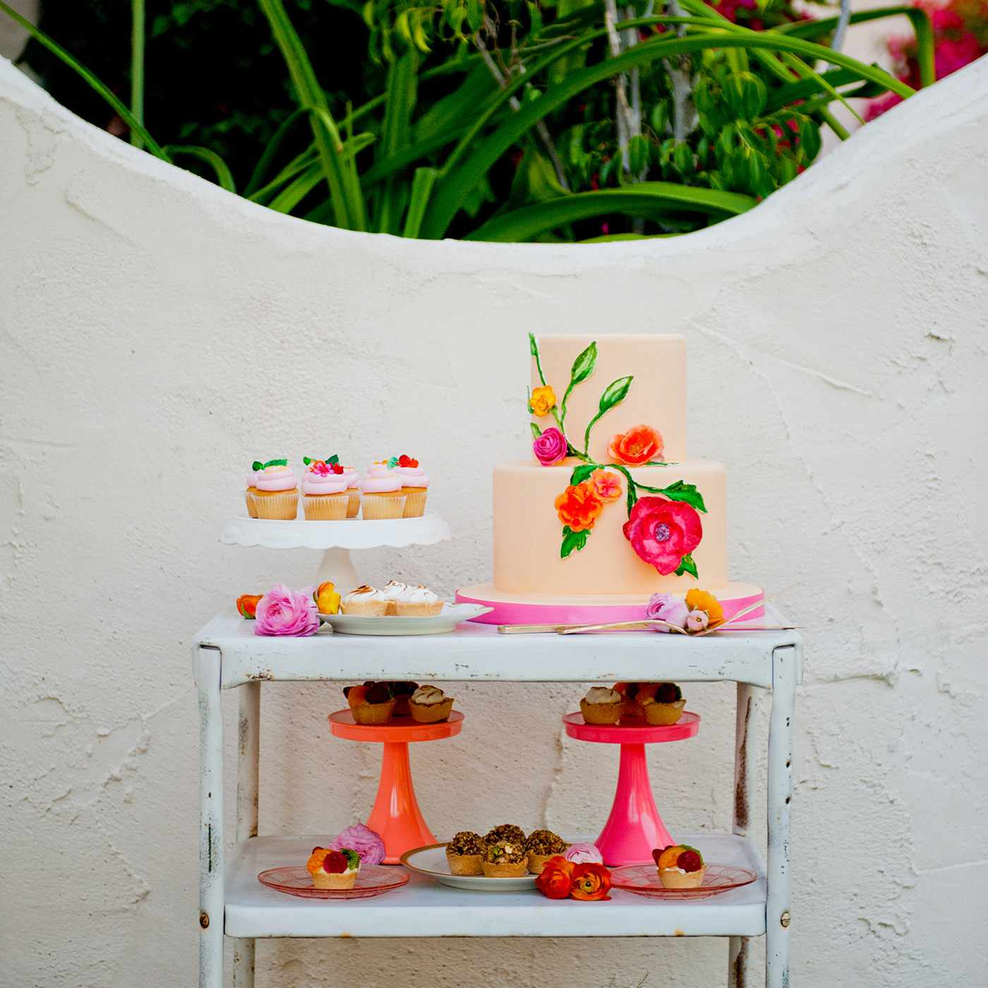 Colorful Two-Tiered Wedding Cake