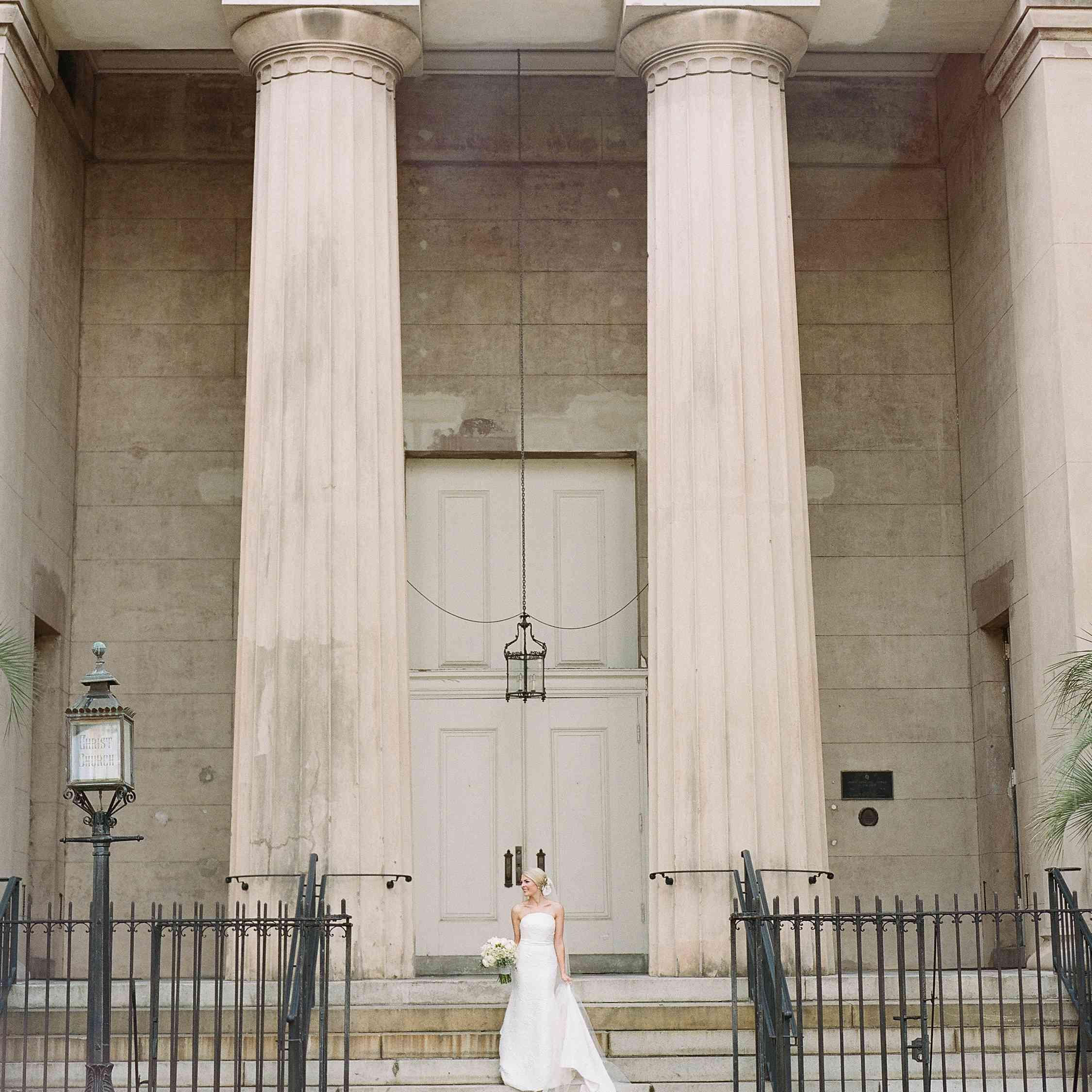 bride on church steps