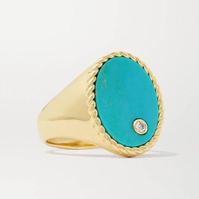 Yvonne Léon 9-Karat Gold, Turquoise and Diamond Ring