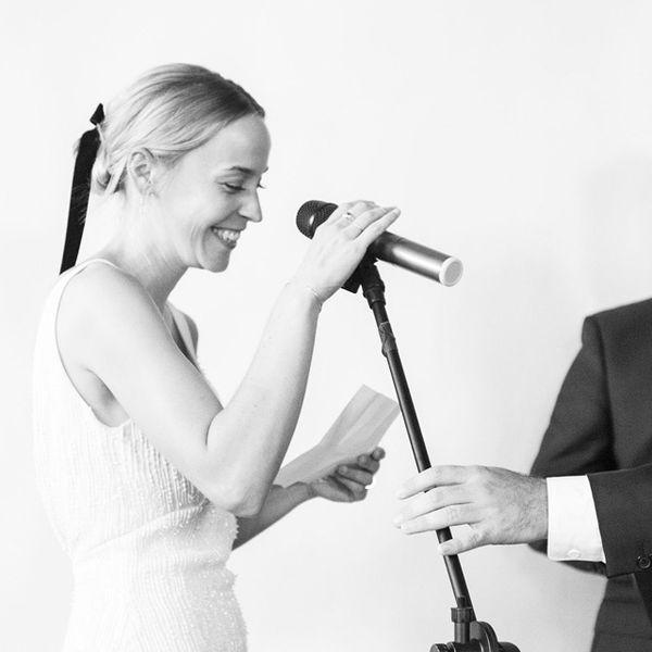 Bride taking mic to recite wedding vows