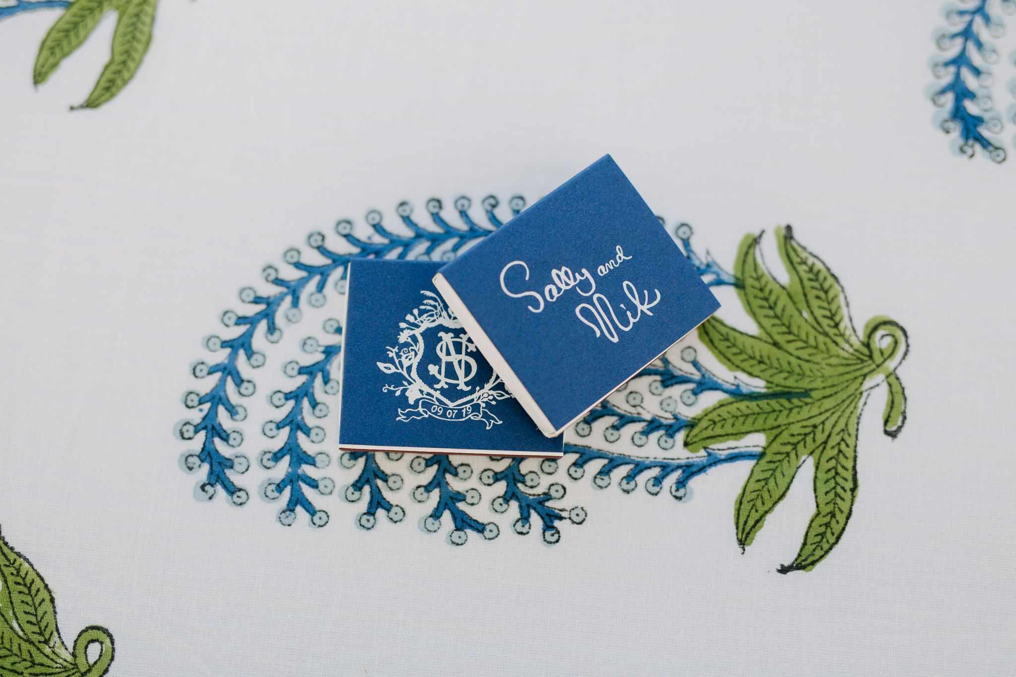 Custom blue playing cards as wedding favor