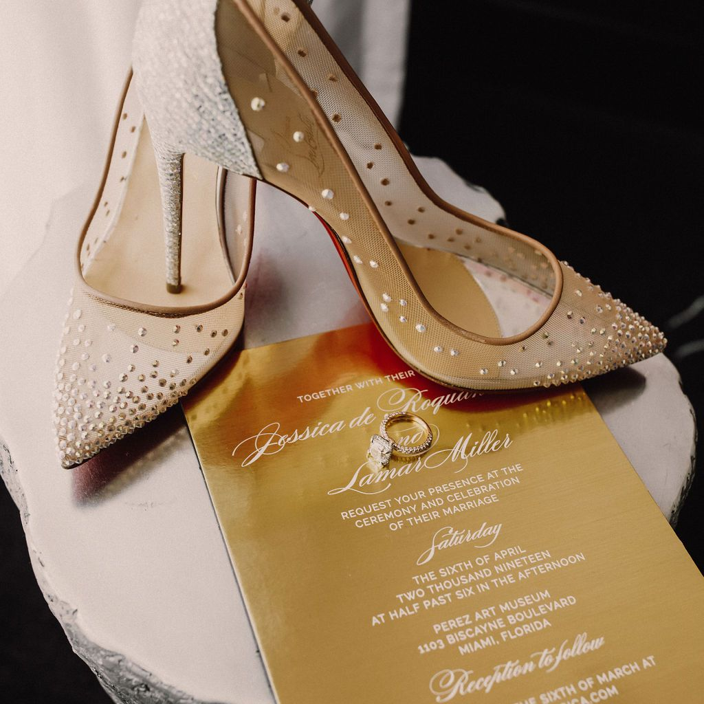 shoes and wedding invitation