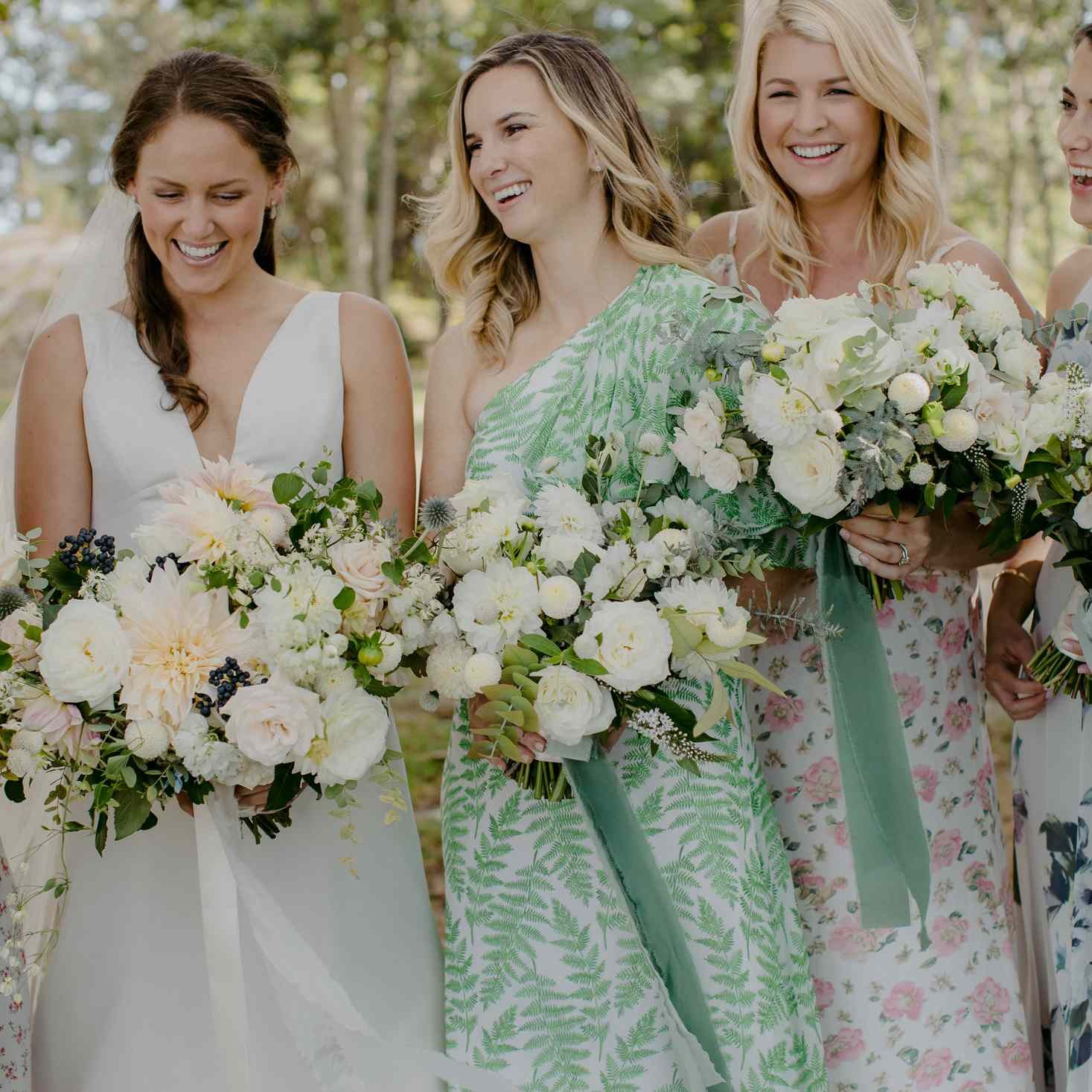 at-home rustic massachusetts wedding, bride laughing with bridesmaids