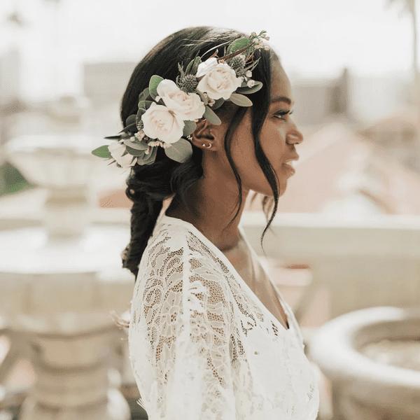Bride with floral braid