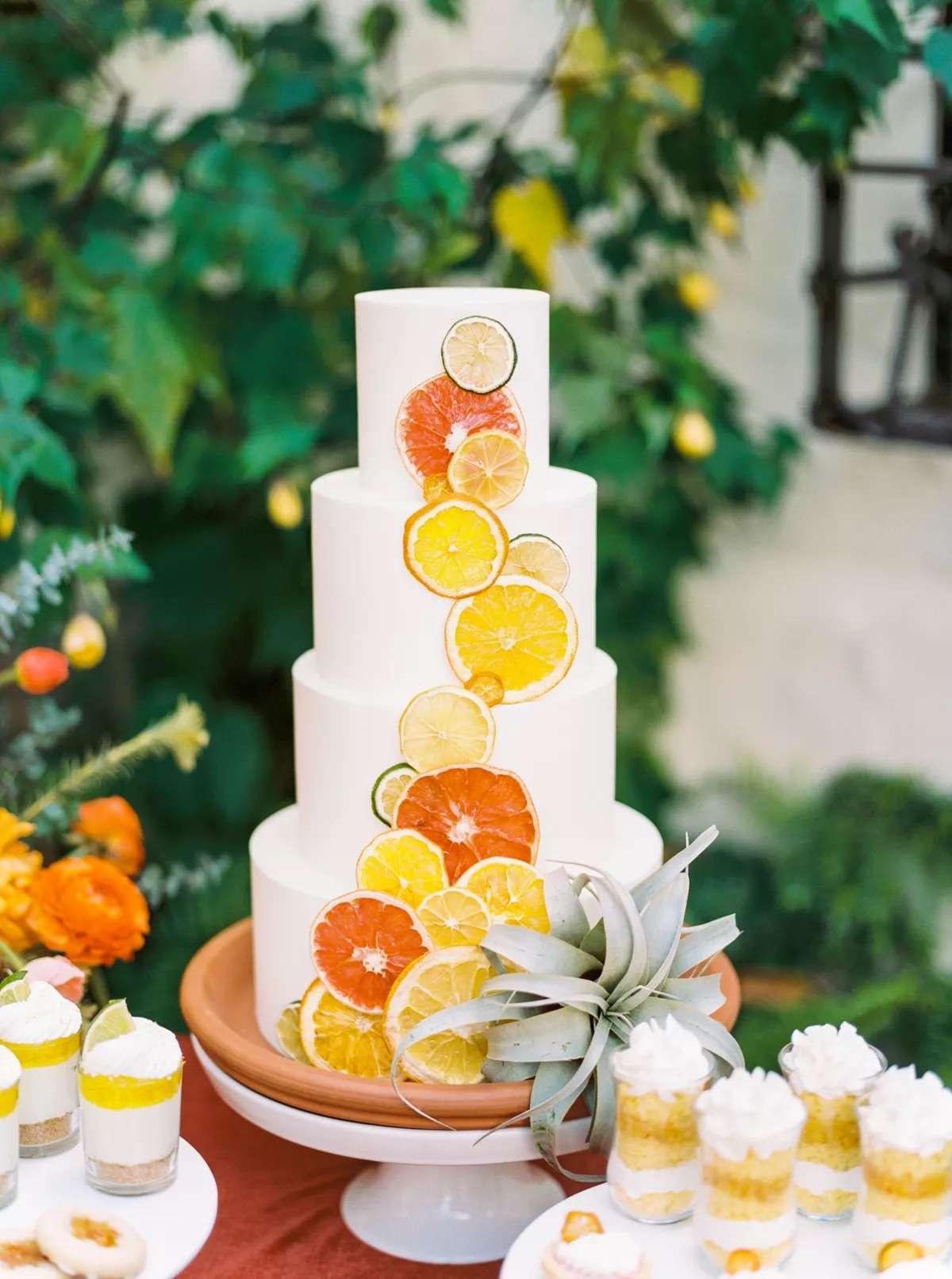 bright citrus wedding cake