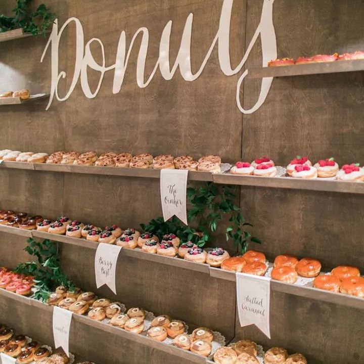 Shelves of donuts