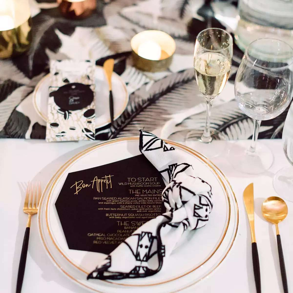 patterned black and white napkin