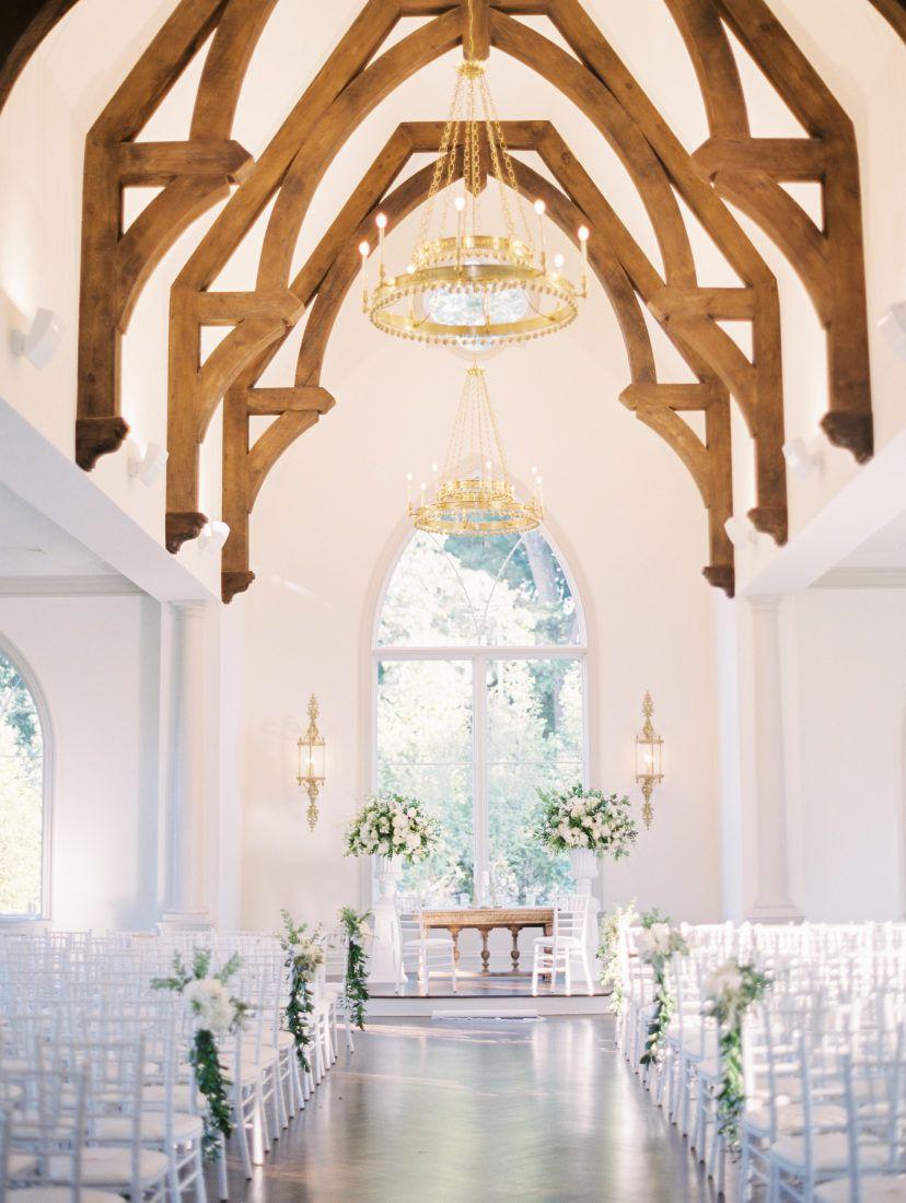Wedding ceremony in a bright chapel