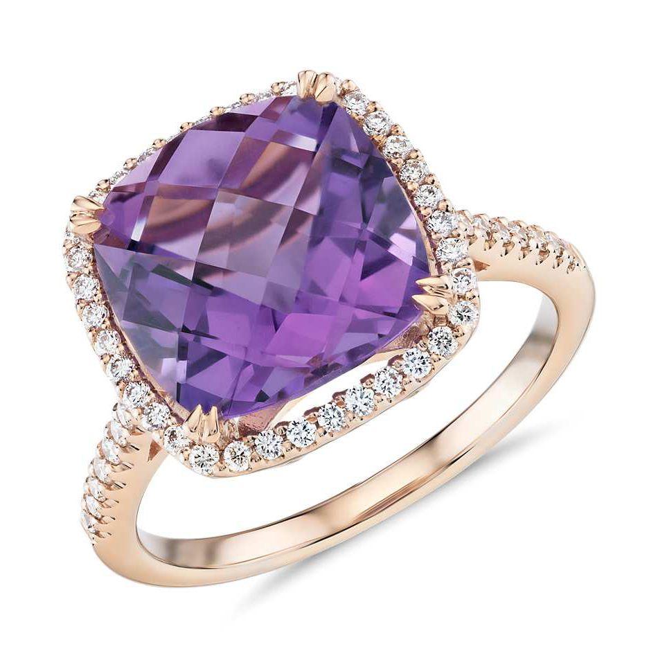 Cushion-Cut Amethyst Diamond Halo Ring