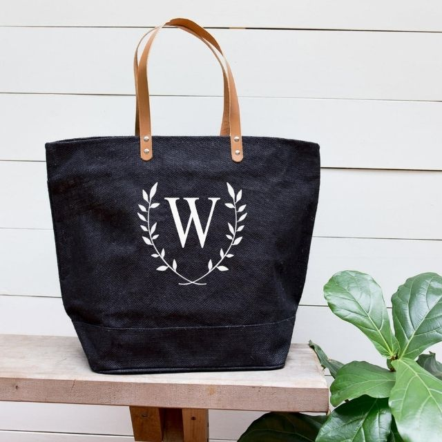 Totes Burlap Personalized Floral Tote Bag from Etsy
