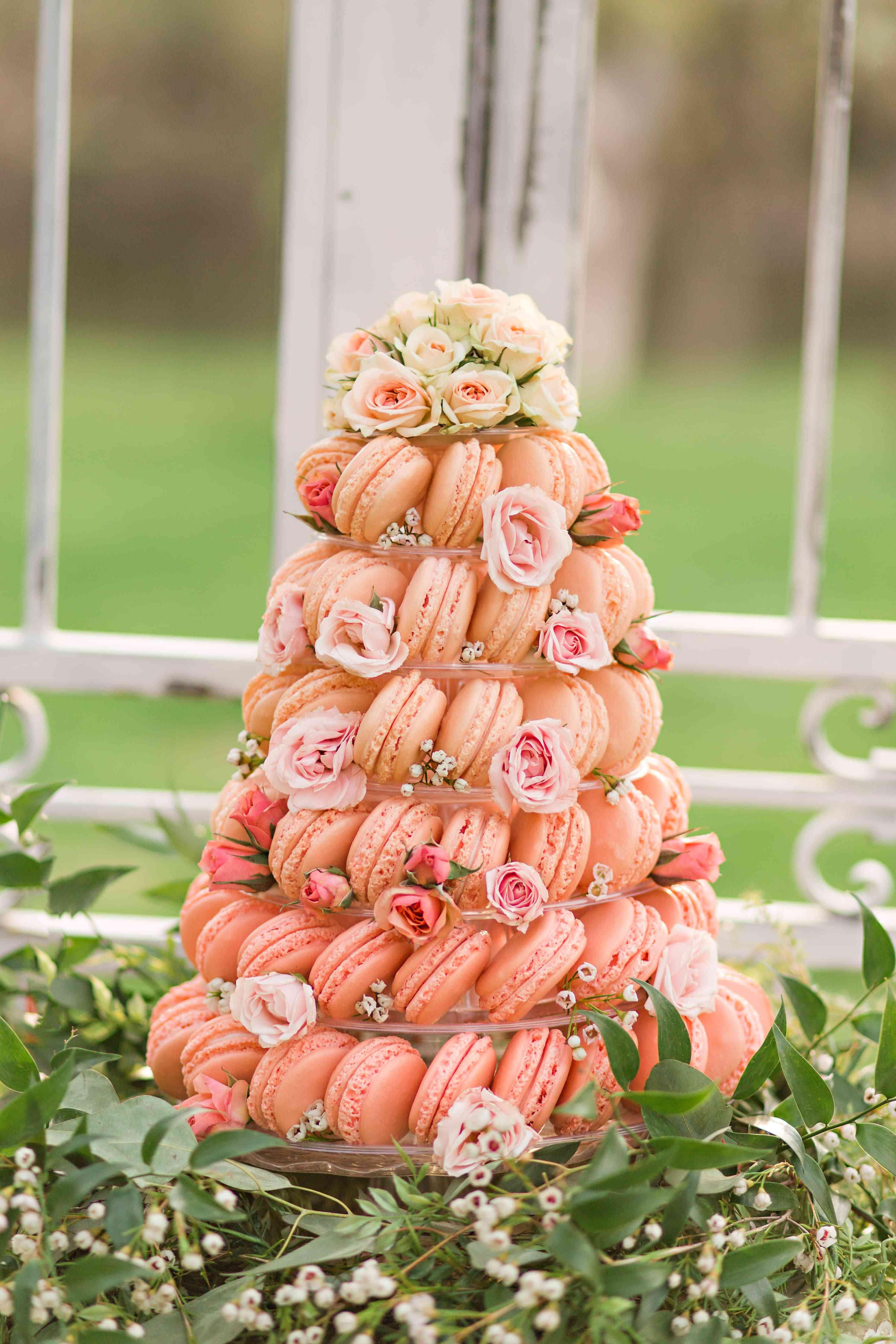 peach macaron tower