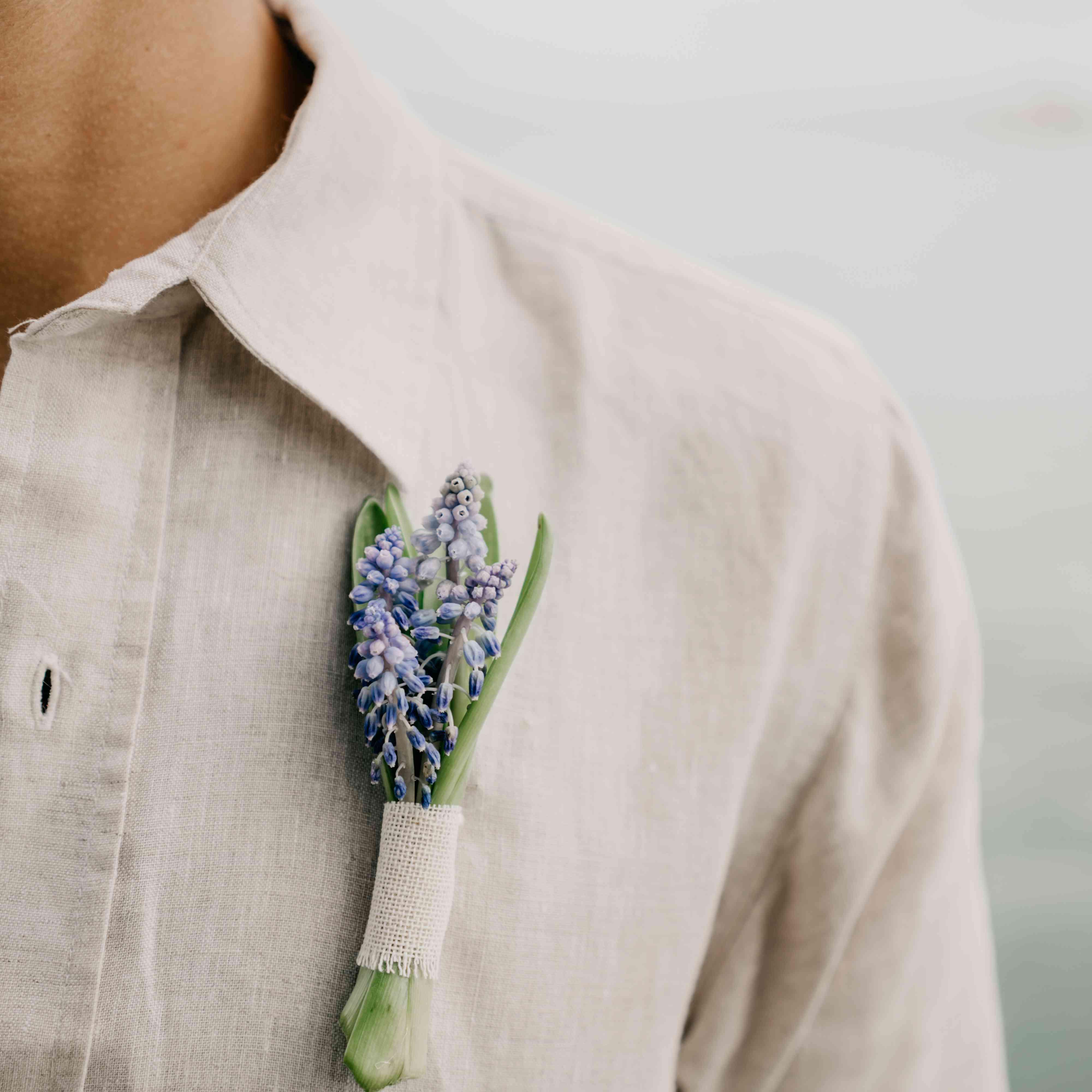 Blue grape hyacinth bouttoniere
