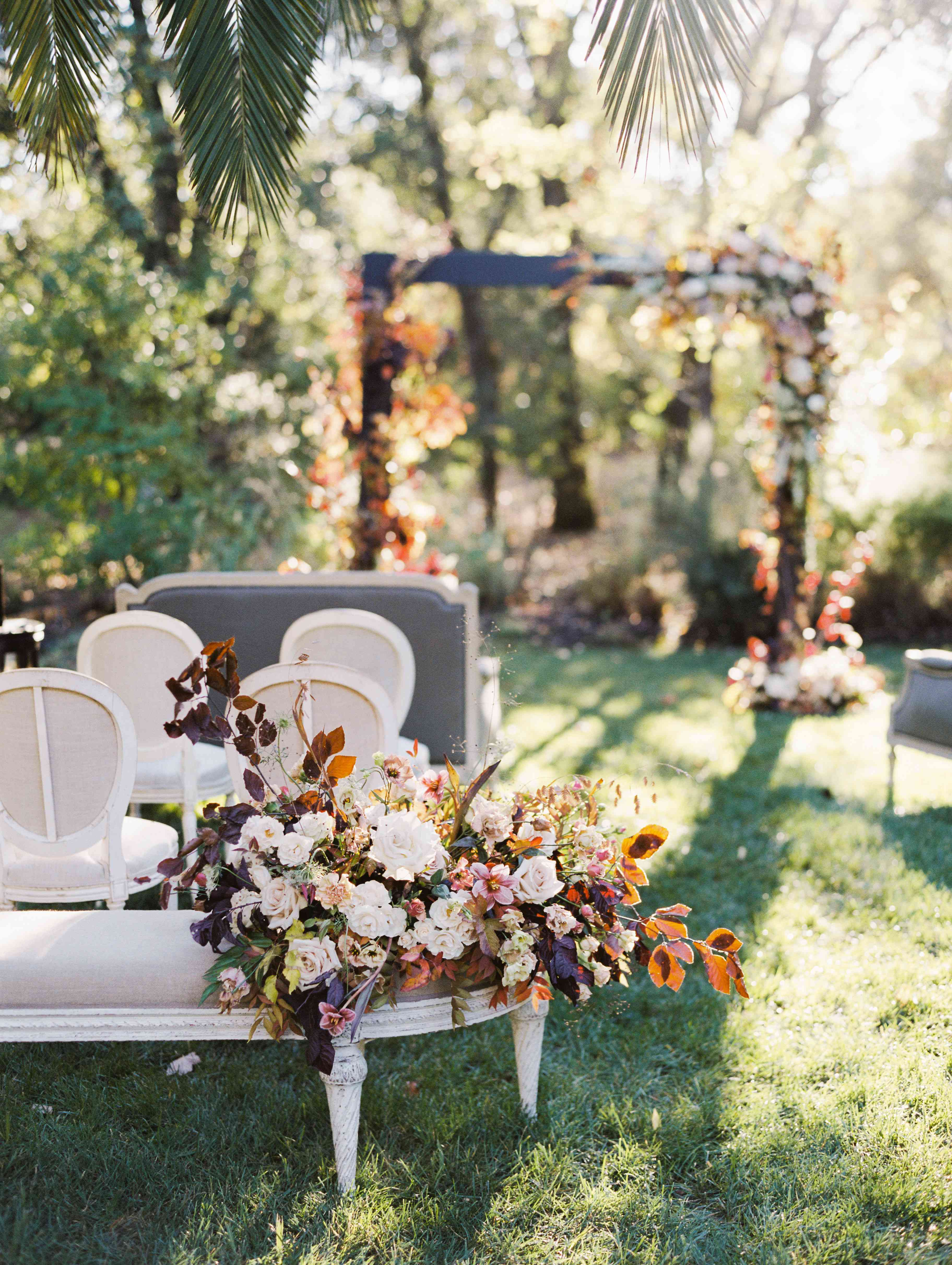 florals on wedding ceremony seating