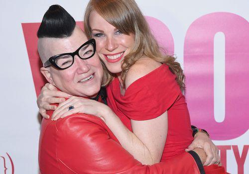 Emma Myles and Lea DeLaria hugging