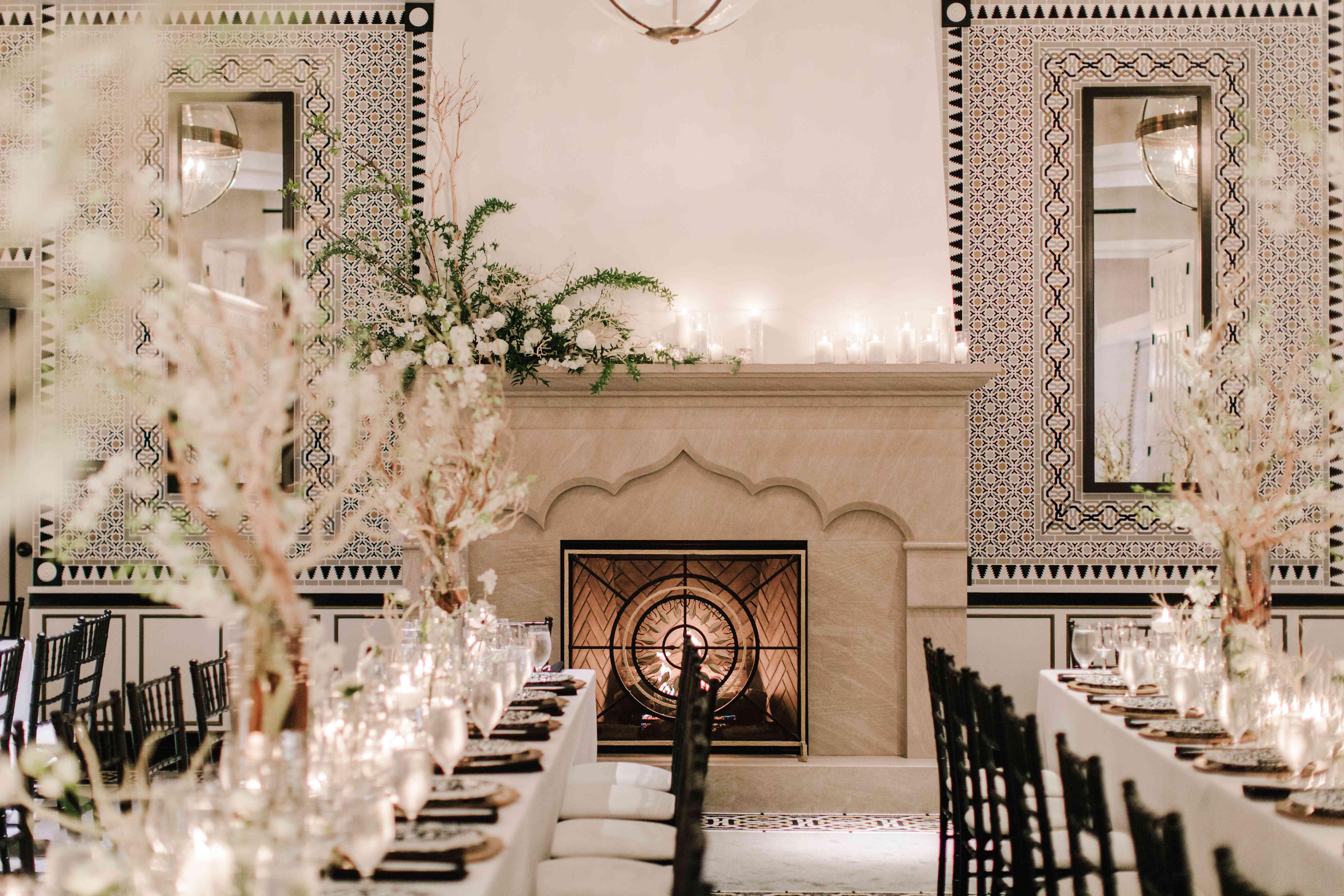 fireplace candlelit wedding reception