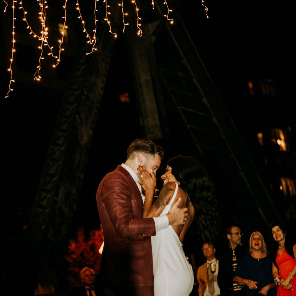 The couple share their first dance