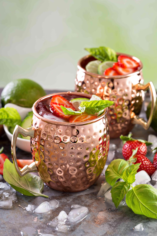 alcohol, signature cocktail, drink, glass, bar, menu, reception, strawberry, basil, copper mug
