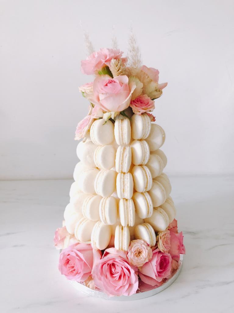 White macaron wedding cake