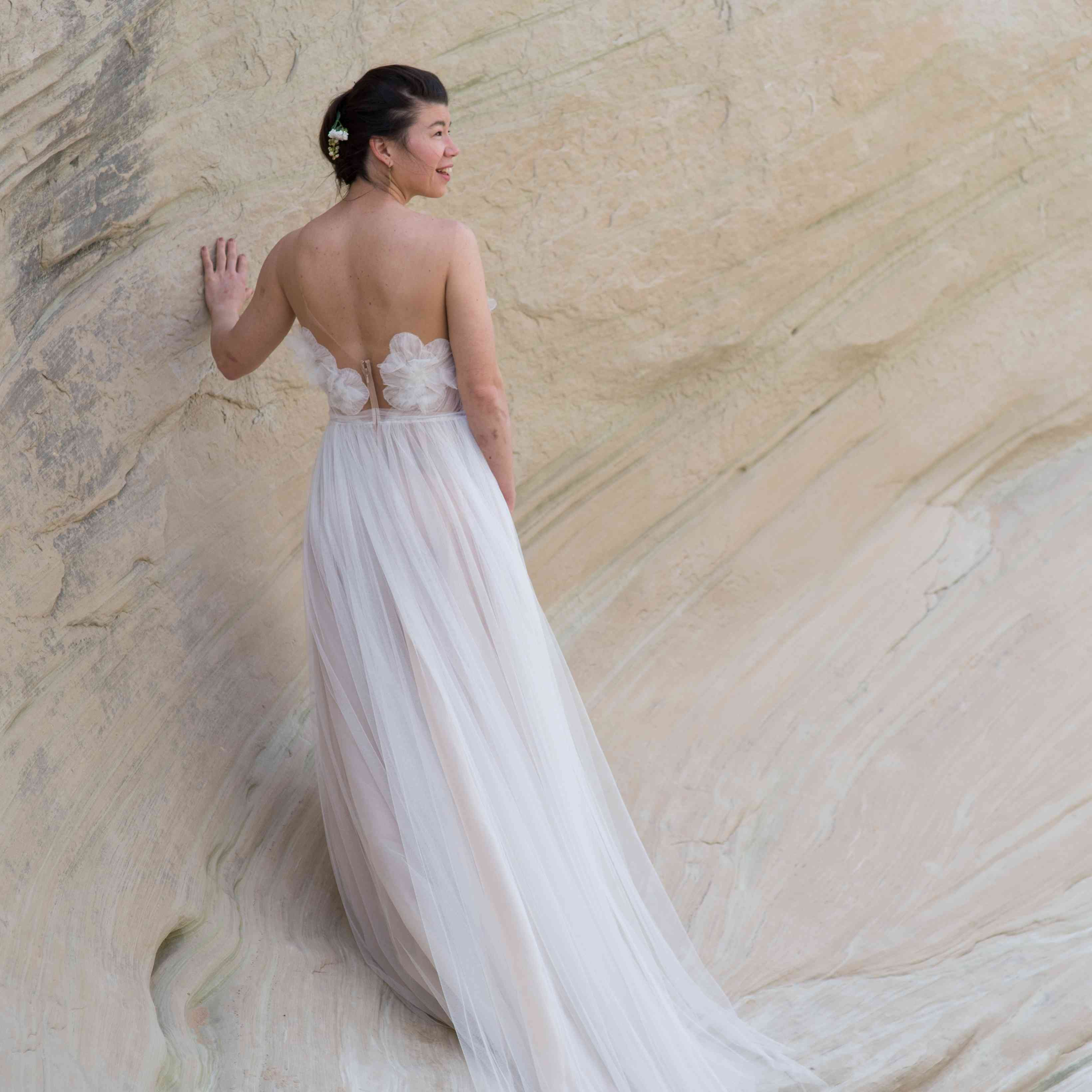 <p>back of tulle wedding dress</p><br><br>