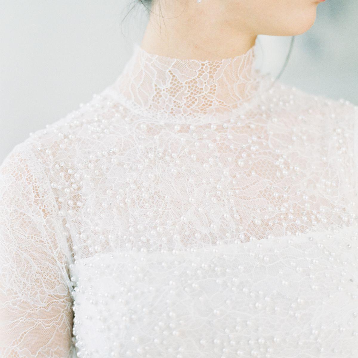 high neck wedding dress illusion neckline