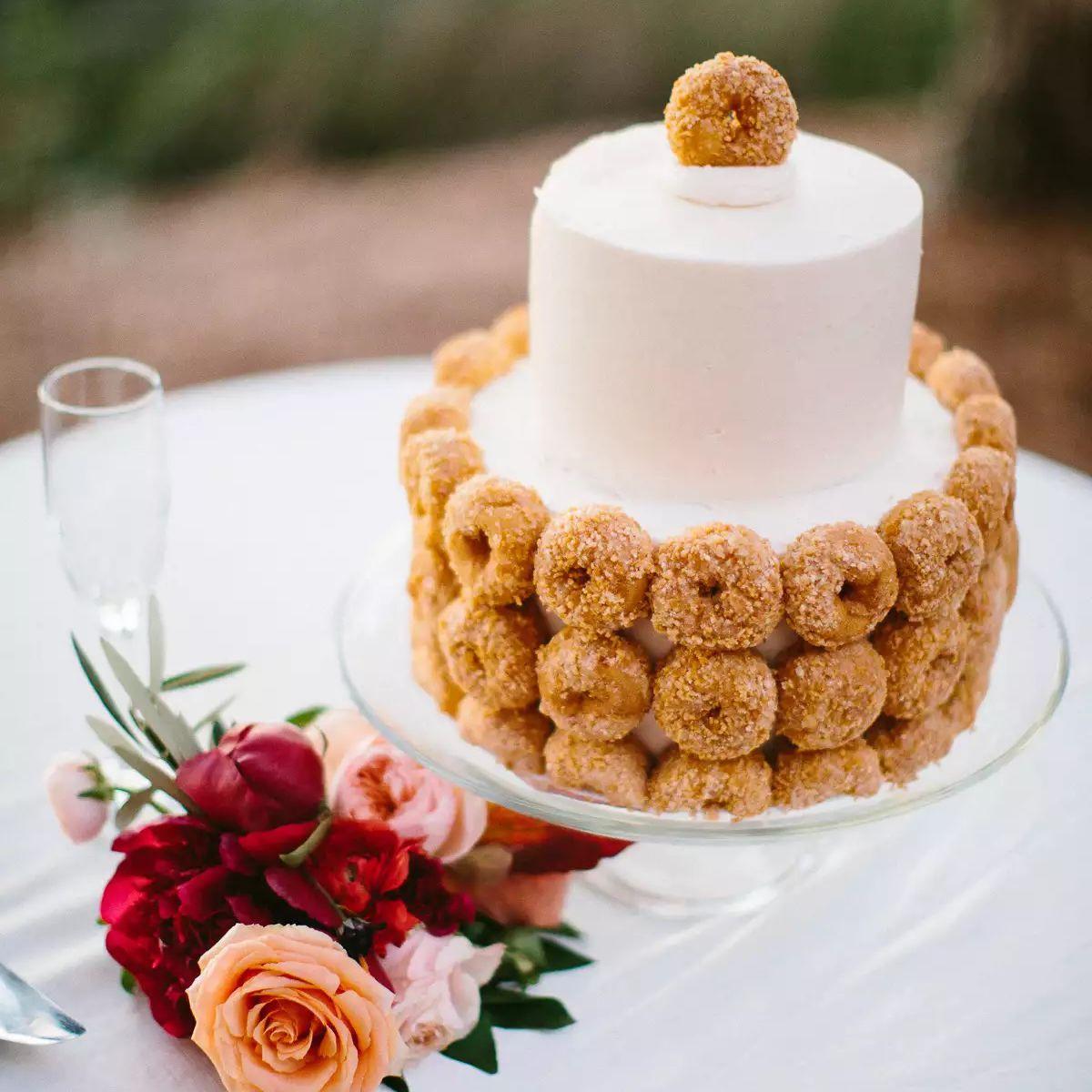 Wedding cake with mini donuts