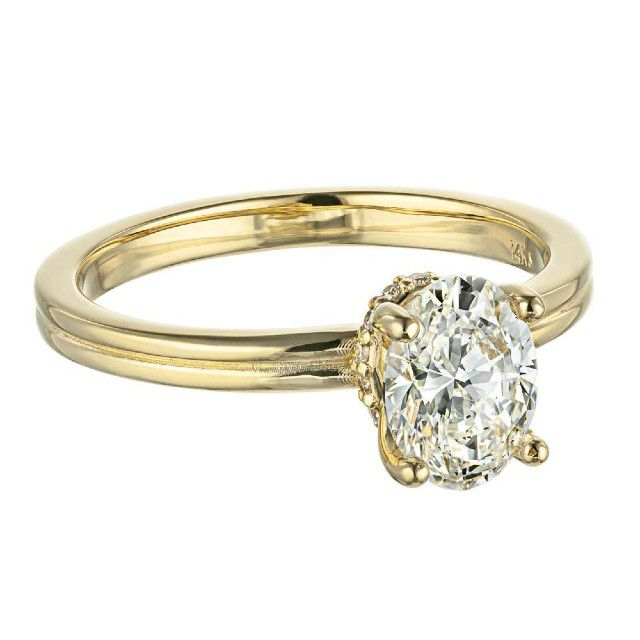 gold band engagement ring