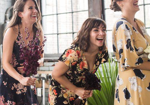 bridesmaids mismatched floral dresses