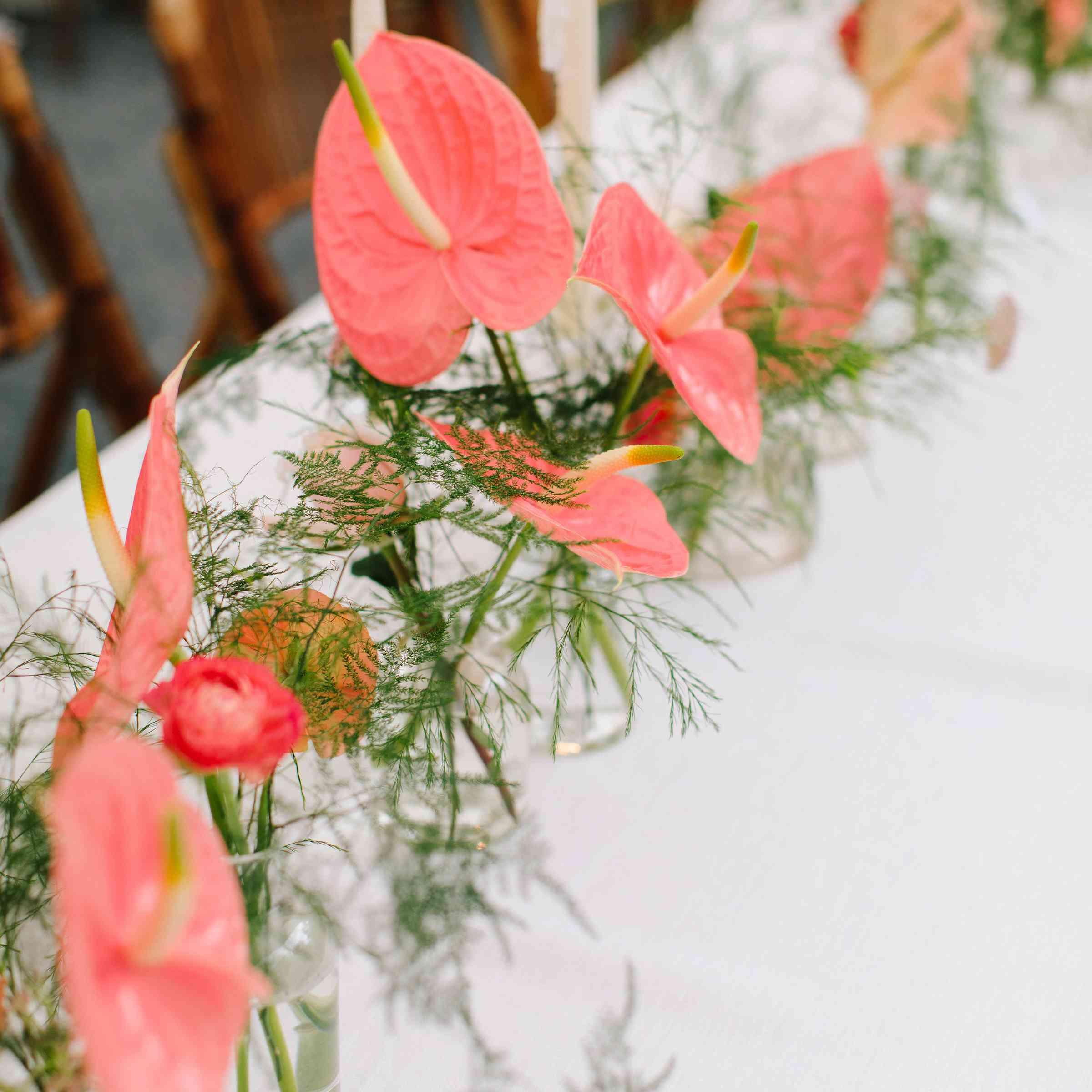 pink wedding reception flower arrangements