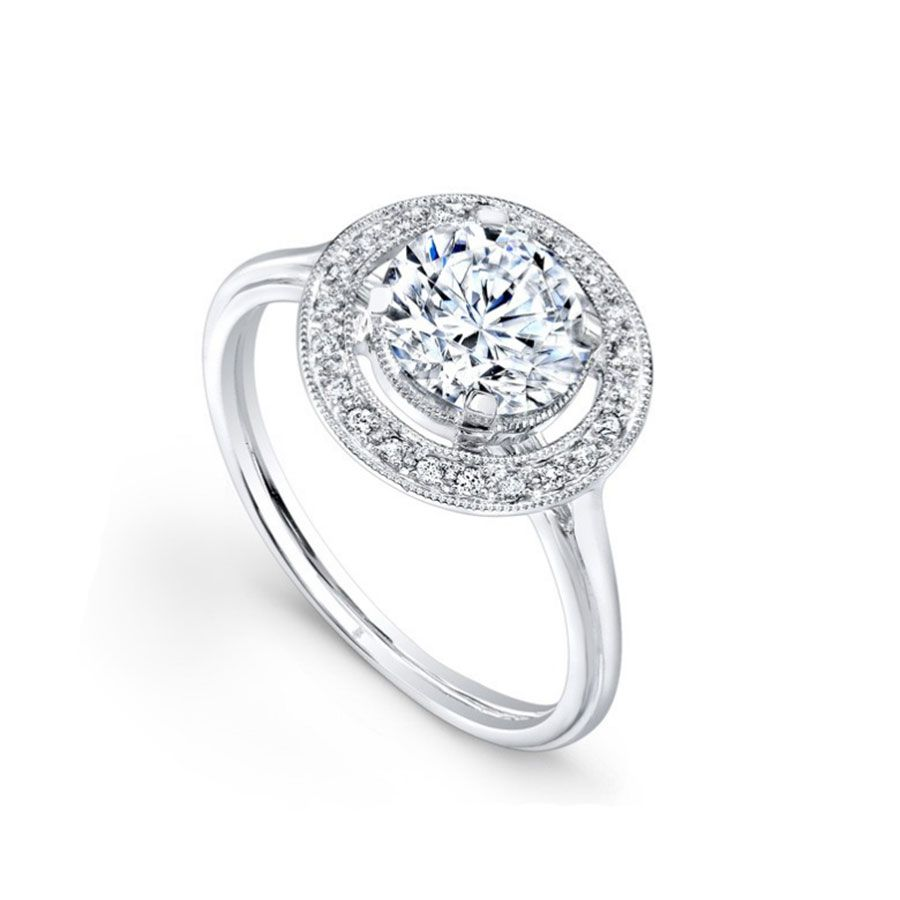 Beverley K Round-Cut Engagement Ring with Halo