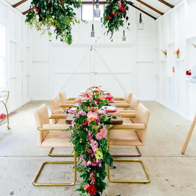 Floral runner with matching hanging swags