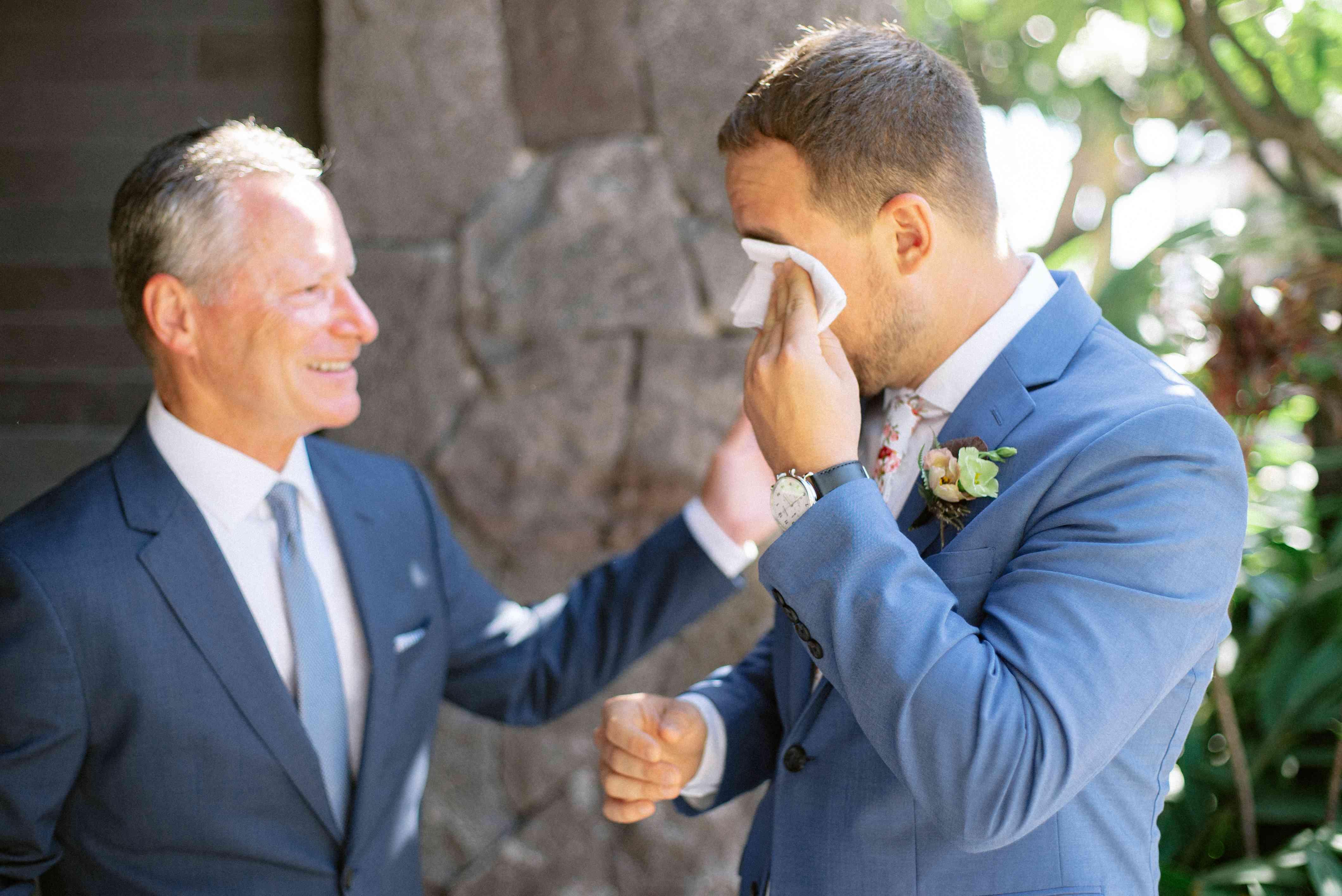 The groom gets emotional