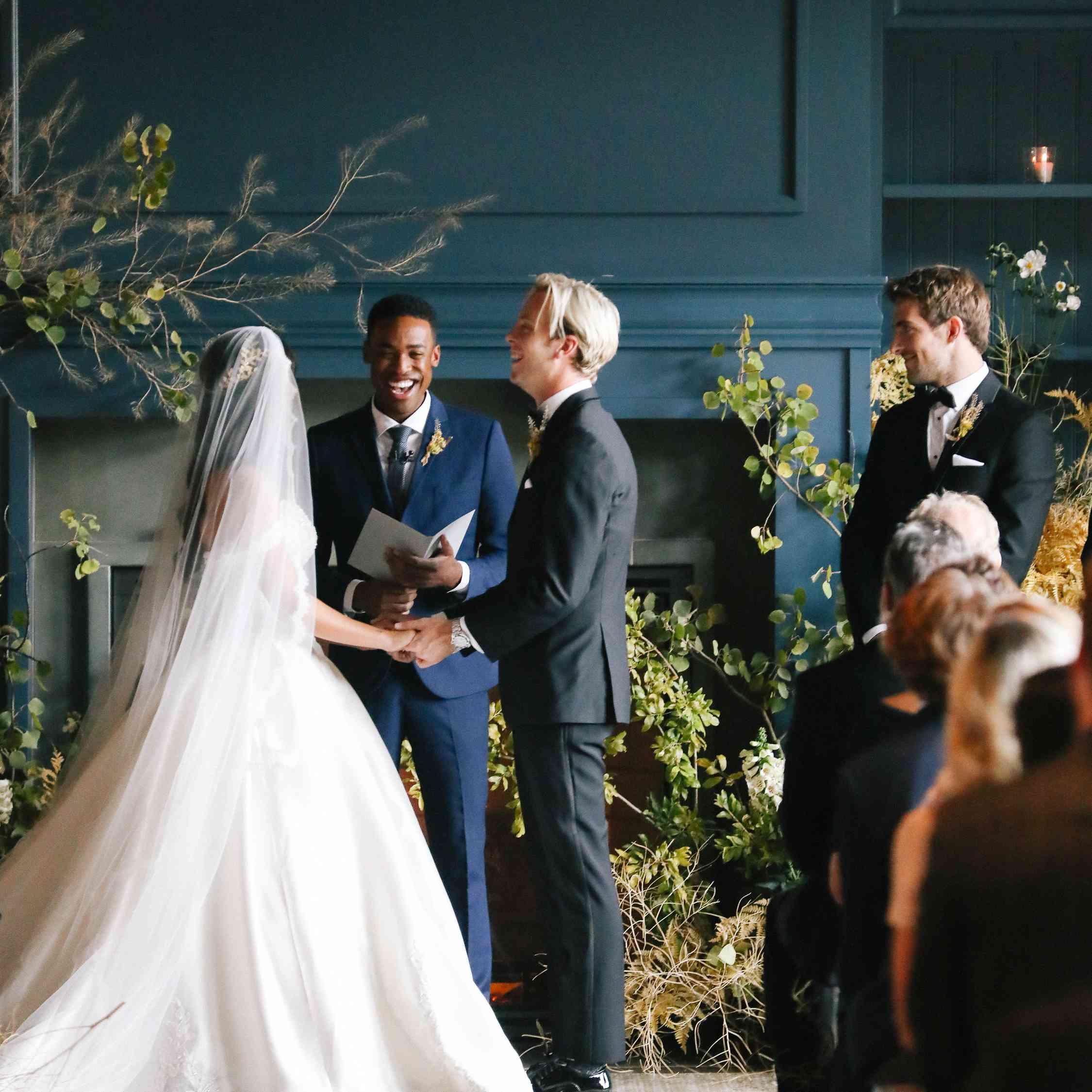 savannah and riker wedding, couple at altar