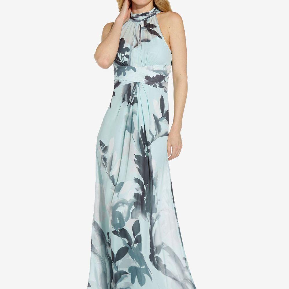 blue floral halter maxi dress