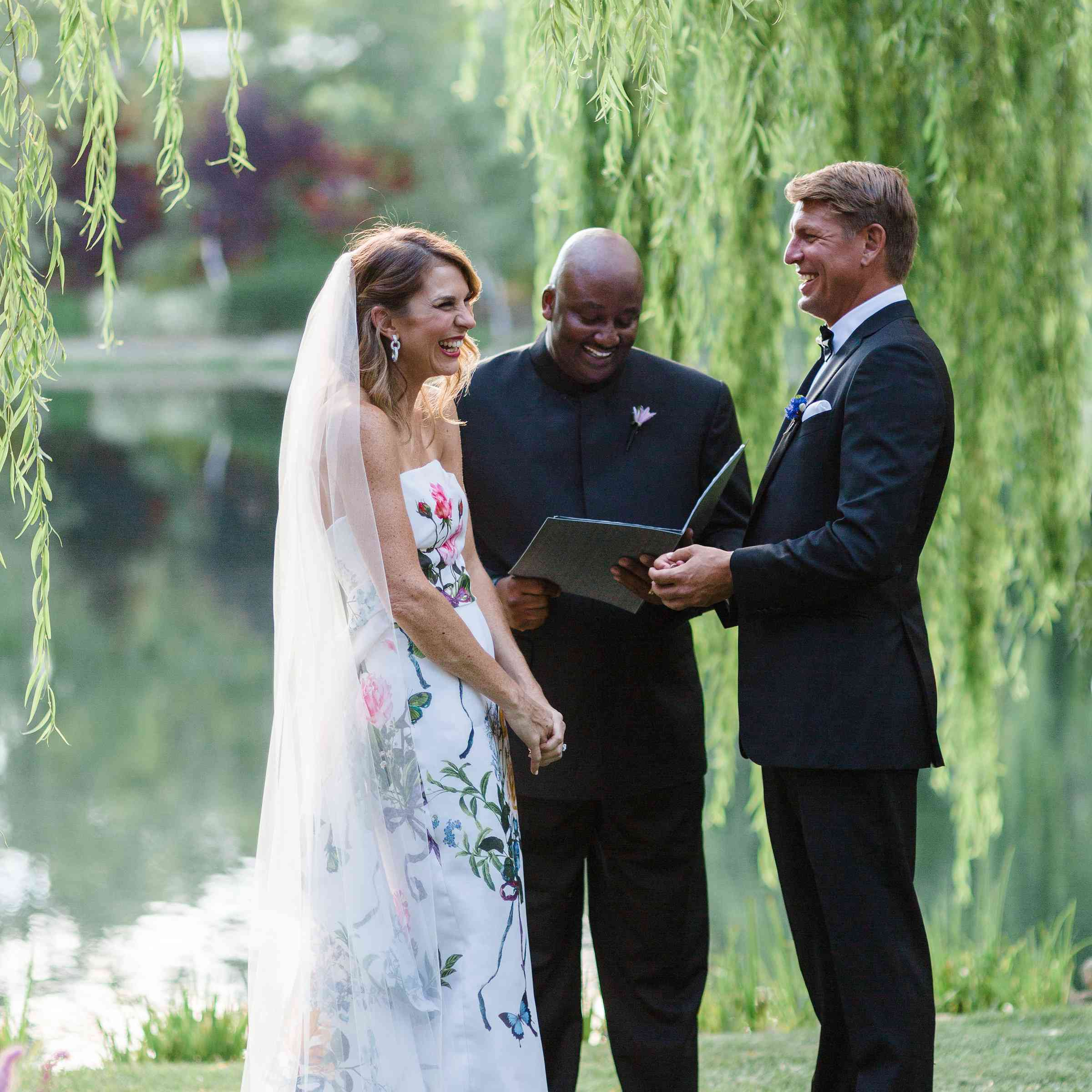 wedding officiant with bride and groom