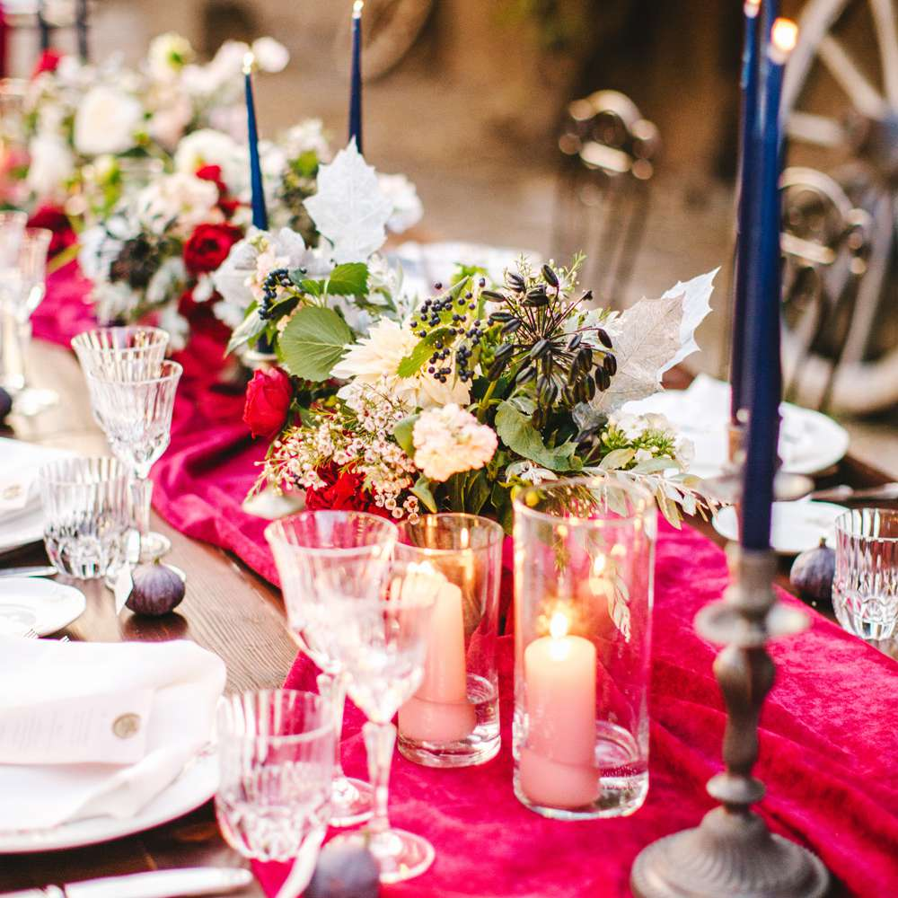 Reception table setting clothed in velvet