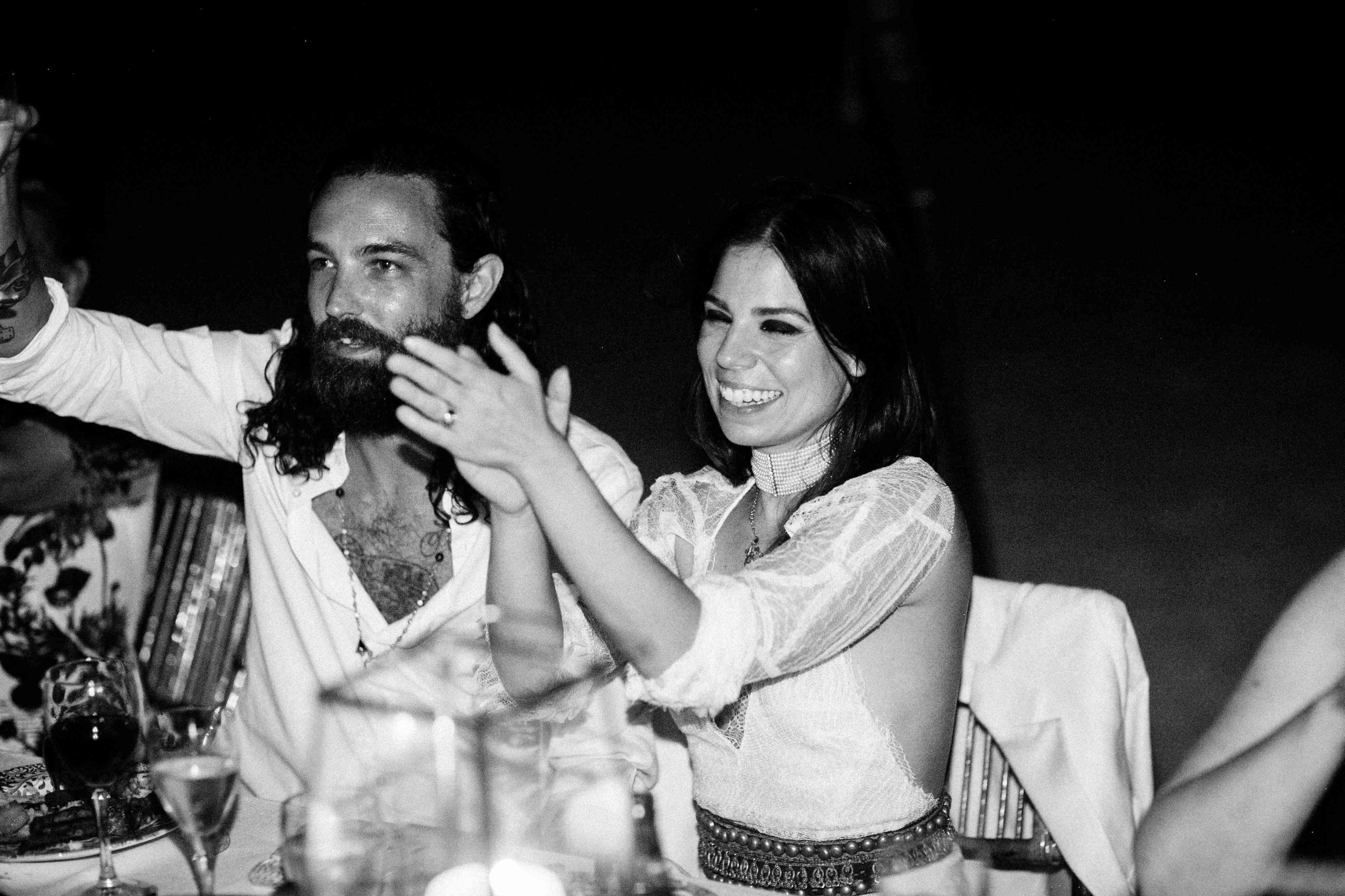 couple toasting wedding reception celebration