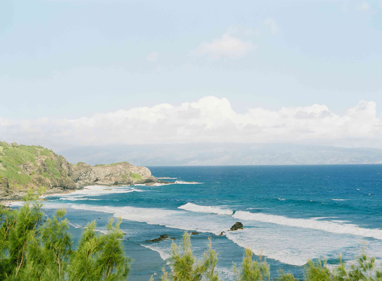 tropical maui wedding, ocean waves