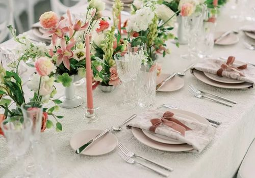 Wedding reception with pink, green, and white