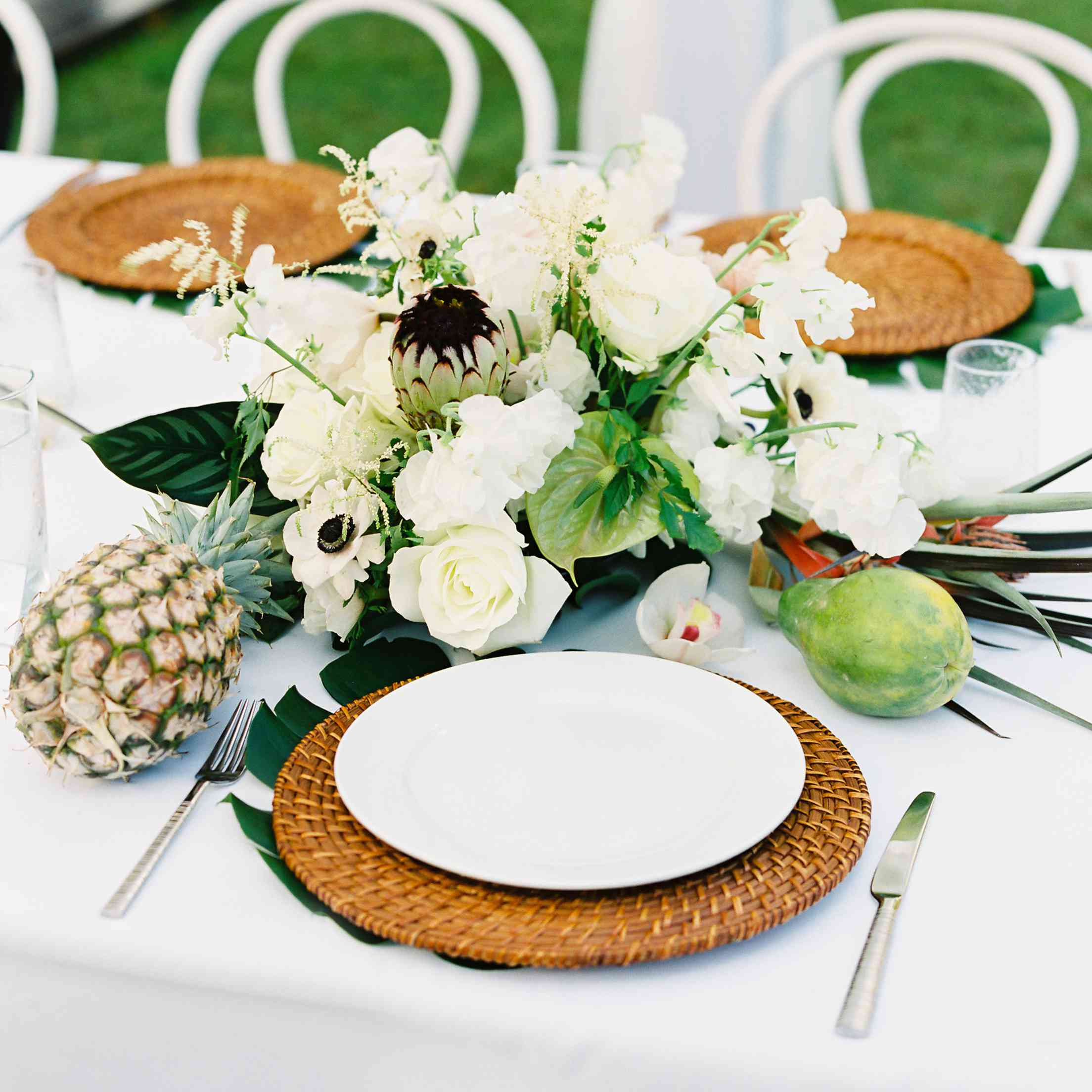 tropical maui wedding, tropical reception tablescape