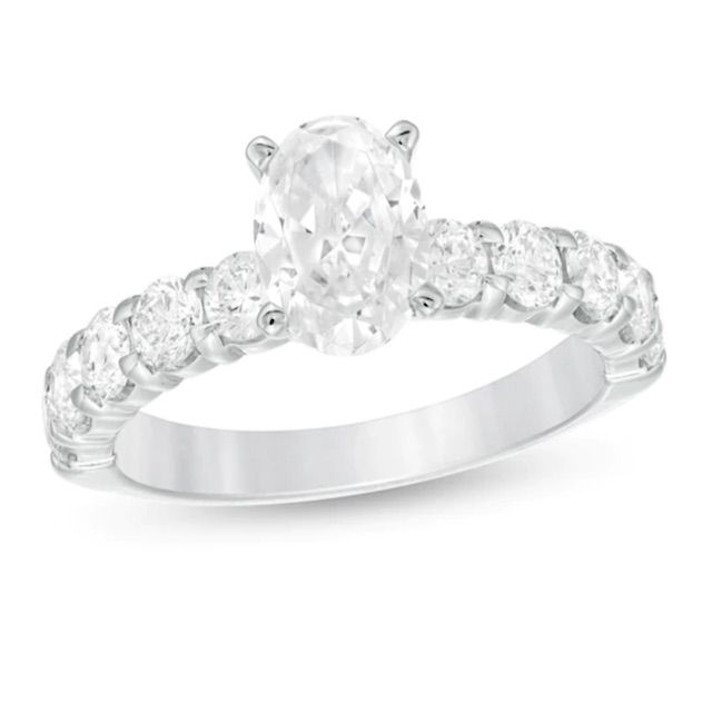 Zales 2 CT. T.W. Oval Diamond Engagement Ring in 14K White Gold
