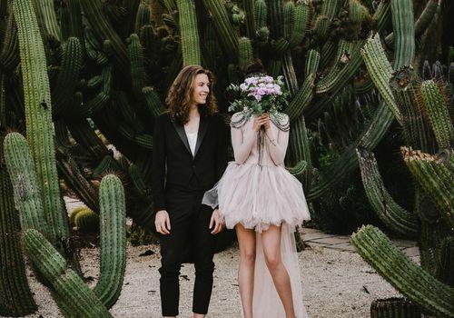 Couple with Cactus Plants