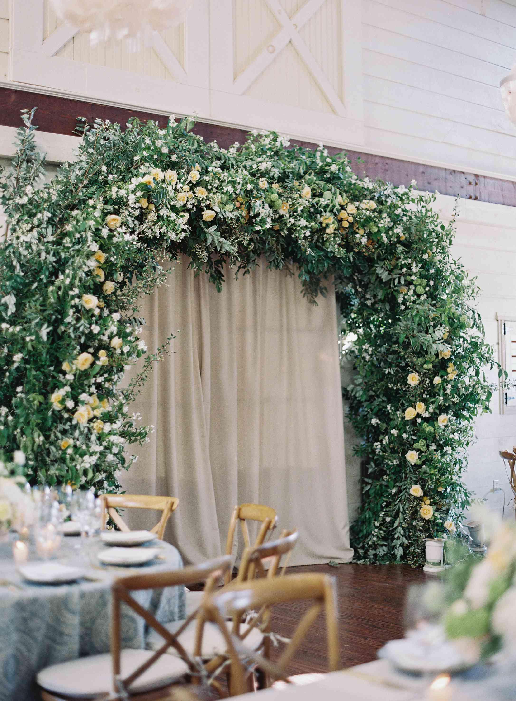 <p>greenery arbor reception entry way</p>