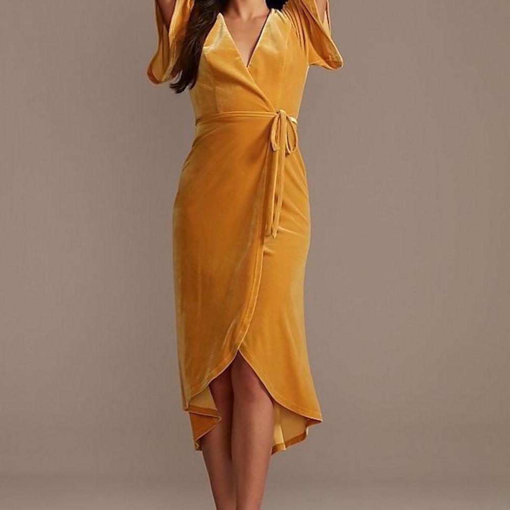 DB Studio Velvet Flutter Sleeve Midi Dress with Tie Waist