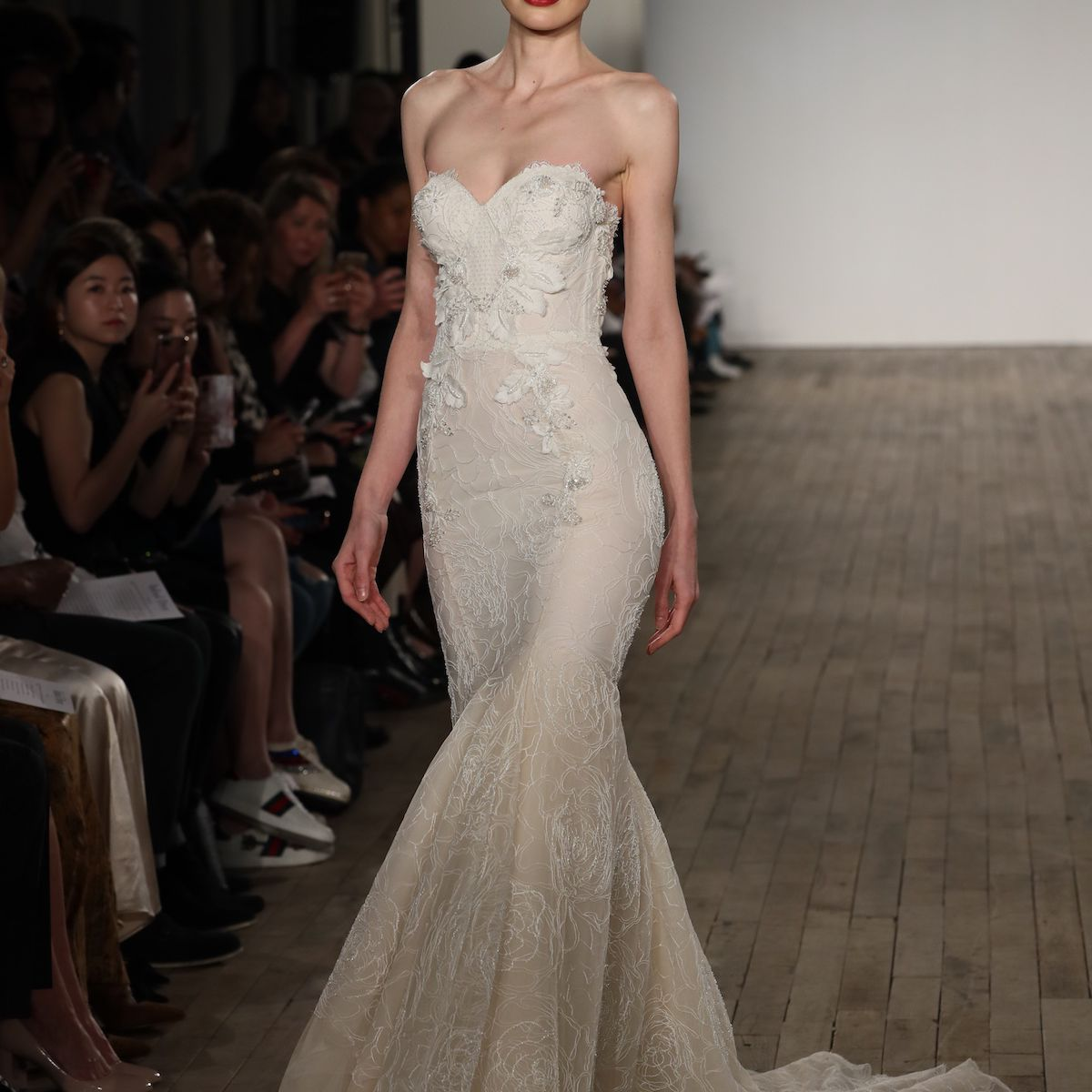 Model in embroidered Inbal Dror VIP wedding dress