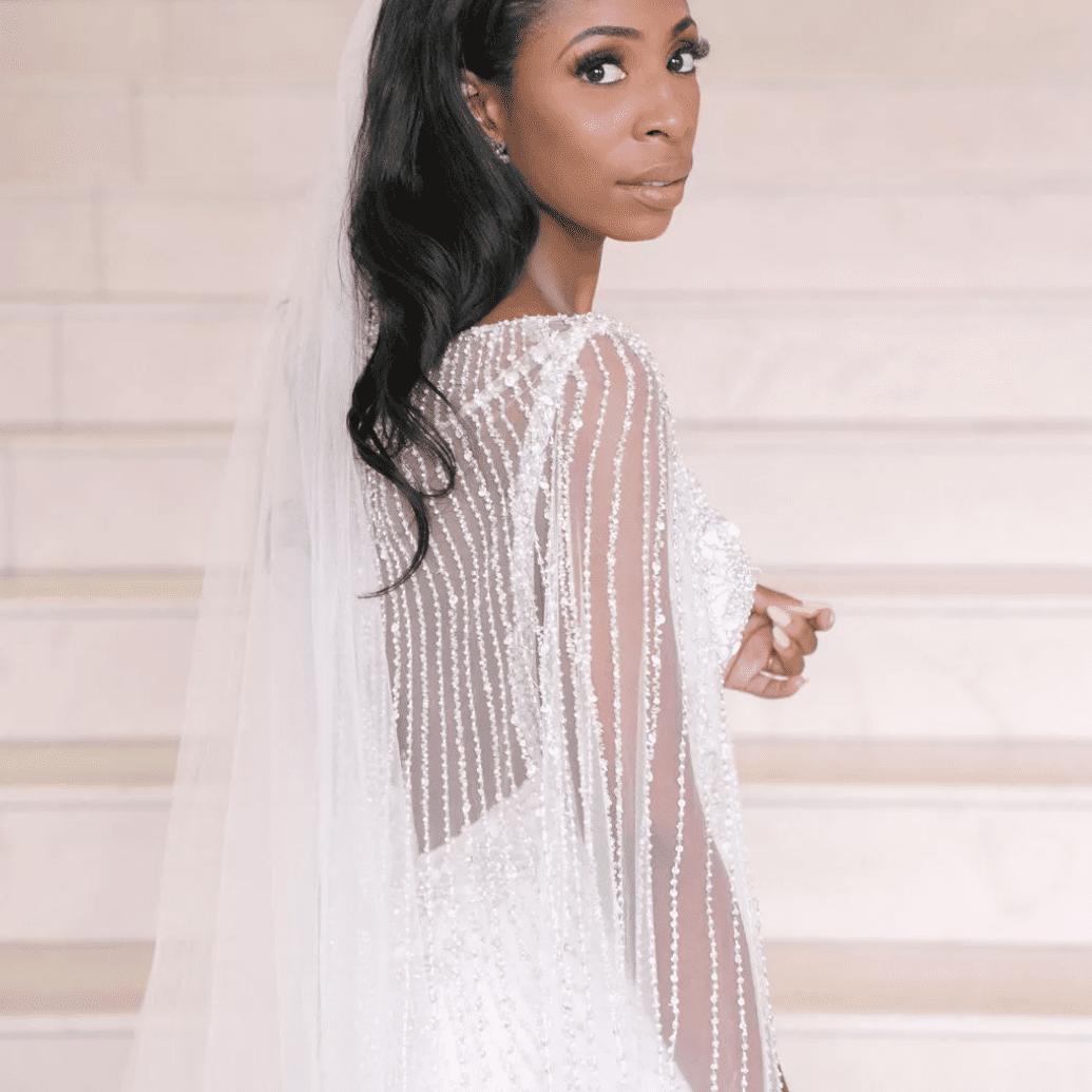 Portrait of Bride in embellished cape